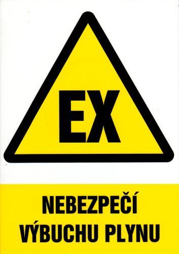tabulka NEBEZPEČÍ VÝBUCHU PLYNU, 29,7×21 cm