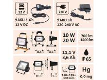 světlo - reflektor LED 10/20W, nabíjecí