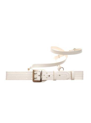 opasek bílý kožený s lampasem - slavnostní k vycházkové uniformě