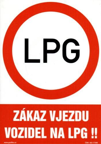 tabulka ZÁKAZ VJEZDU VOZIDEL NA LPG, 29,7×21 cm