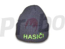 čepice zimní úpletová, neonový nápis HASIČI - kulich