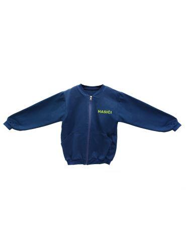 tepláková bunda na zip HONZA 86-128 s nápisem HASIČI na prsou a na zádech
